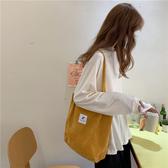 日系燈芯絨帆布包ins女學生單肩手提布袋原宿大容量ulzzang上課包