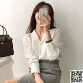 早秋新款韓版職業百搭西裝領寬鬆簡約垂感雪紡長袖白色襯衫女 一件免運