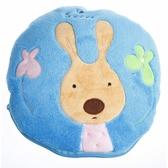 布布童鞋 法國砂糖兔水藍色二用式保暖毛毯小抱枕 [ OZB196B ] 藍色款