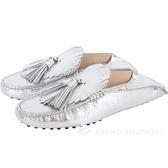 TOD'S Gommino 流蘇拖鞋式牛皮豆豆穆勒鞋(女款/銀色) 1830106-30