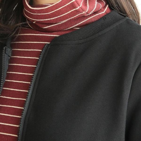【限時下殺89折】飛行外套 銅扣記秋季新款短外套女內刷毛圓領開衫休閒長袖夾克衛衣棒球服