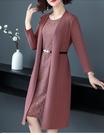 中年媽媽春裝洋裝兩件套新款洋氣高貴中老年女春秋氣質風衣外套