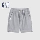 Gap男幼童 寬鬆舒適鬆緊短褲 670963-藍色細條紋