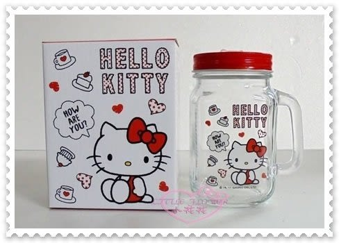 ♥小花花日本精品♥ Hello Kitty 玻璃水杯 梅森杯 玻璃瓶 水壺 聖誕節禮物 坐姿 愛心 500ML (預購)