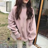 衛衣女秋冬假兩件高領加絨加厚毛衣外套韓版潮學生寬鬆上衣服 水晶鞋坊
