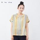a la sha 彩色條紋平織創意上衣