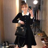 VK精品服飾 韓系時尚娃娃領名媛小香風長袖洋裝