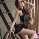 性感睡衣 炫黑綁脖蕾絲二件式迷你辣妹連身裙 愛的蔓延 SNA14030022