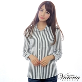 Victoria 印紋直條長袖襯衫-女