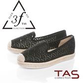 TAS透膚感燙鑽雷射布麻繩編織懶人鞋-率性黑