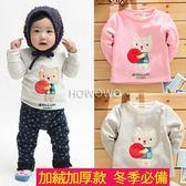 厚款長袖上衣 貓咪蘋果不倒絨長袖T恤 CA3919 好娃娃