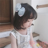 韓國兒童發飾 仙女網紗流沙亮片蝴蝶結發夾【聚可愛】