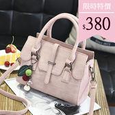 手提包-穿帶吊飾純色手提側背包-9060- J II