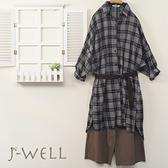 J-WELL 純棉格紋長版上衣寬褲兩件組(組合A514 9J1015深灰+8J1503咖)