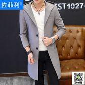男士風衣中長款韓版修身 新款披風外套春秋裝薄款帥氣潮牌大衣 99一件免運