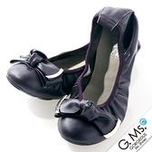 G.Ms. 銀飾蝴蝶結牛皮彎折蝴蝶結娃娃鞋-深紫色