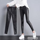 皮褲亞光皮褲女秋冬新款黑色顯瘦加絨和不加絨pu皮小腳緊身褲女褲 快速出貨