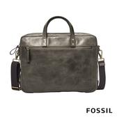 FOSSIL HASKELL 15吋筆電 仿舊感真皮商旅公事包-水泥灰 MBG9342257