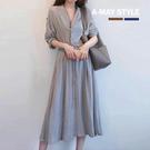 加大碼-韓國風復古氣質棉麻收腰蝴蝶結洋裝(S-2XL)