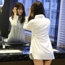 特惠大尺碼!韓版中長款白襯衫女2020秋裝新款時尚上衣性感衣服秋天打底襯衣潮