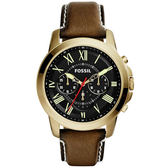 FOSSIL 古典伯爵三環計時腕錶-金框X咖啡帶