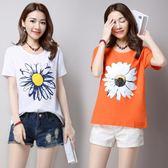 女裝短袖寬鬆棉麻t恤 印花白色太陽花上衣潮
