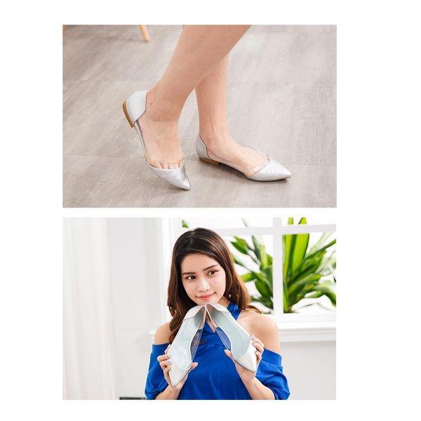 【ORiental TRaffic】前衛個性透明拼接平底鞋 個性銀