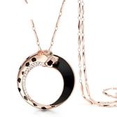 鑲鑽項鍊-圓點豹紋生日母親節禮物女毛衣鍊73fv76【時尚巴黎】