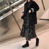 時尚兩件套女初春韓版寬松休閒小西裝配高腰格子半身裙蛋糕裙套裝