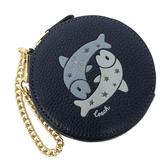 【COACH】經典LOGO牛皮星座魔羯圓形零錢包(雙魚座藍)