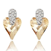 水晶耳環 925純銀耳針式-鑲鑽愛心生日聖誕節交換禮物女飾品4色73bd225[時尚巴黎]