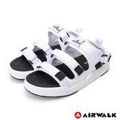 【AIRWALK】魔鬼氈增高二穿式涼鞋-白