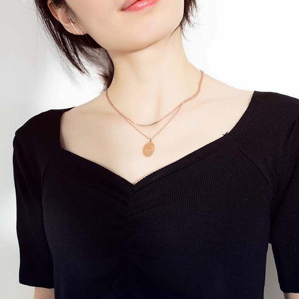 【5折超值價】時尚精美雙鍊造型女款鈦鋼項鍊