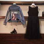 棉花糖 大女孩XL-4XL中大尺碼秋裝個性蝙蝠袖貼花流蘇牛仔短外套7077.R007韓依紡