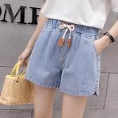 高腰寬褲 夏季韓版寬鬆緊帶薄款休閑牛仔短褲大碼女裝闊腿熱褲外穿 夏季上新