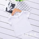 韓版童裝2019夏裝新款中小童簡約上衣寶寶休閑T恤珍珠打底衫5010