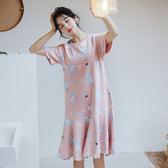 【預購】韓版甜美獨角獸印花舒適公主風睡裙 連身裙 居家服 睡衣 S92302