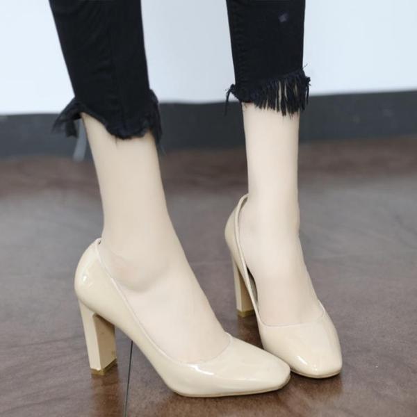 高跟鞋 高跟 漆皮性感 裸色方頭 粗跟鞋 女2020秋季新款復古百搭職業OL單鞋