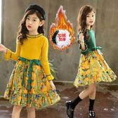 女童洋裝秋冬裝新款洋氣女孩加絨毛衣線兒童針織公主冬裙子 夢幻衣都