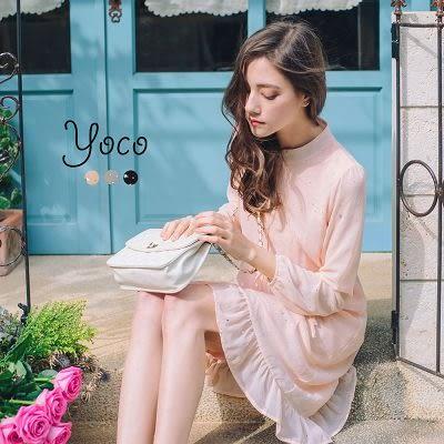 東京著衣【YOCO】高貴星空雪紡抽繩洋裝-S.M.L(170114)