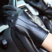 秋冬季PU皮手套女士加絨加厚保暖騎車水洗皮手套觸摸屏薄款修手  花間公主