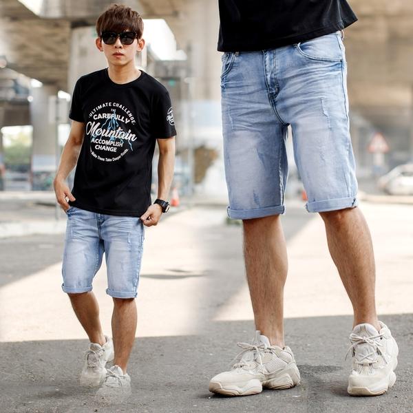 短褲 韓國製淺藍刷白小抽鬚彈性牛仔短褲【NB1036J】