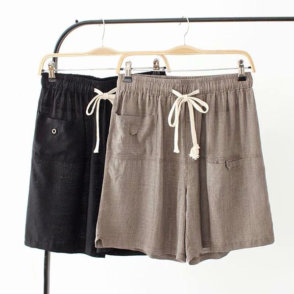 *ORead*韓版寬鬆棉麻鬆緊腰休閒五分短褲(2色XL~4XL)