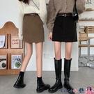 熱賣短裙 春秋2021年新款春裙高腰毛呢A字裙黑色半身裙春季女短裙包臀裙子 coco