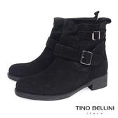Tino Bellini義大利進口麂皮mix微閃皮料低跟短靴_黑 B69019 歐洲進口