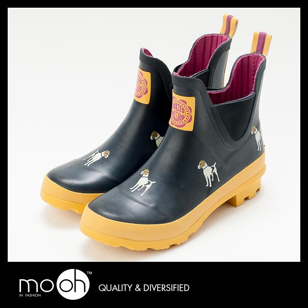 英國joules可愛小狗短筒拚色雨鞋 鬆緊帶 防水 男女款 短筒雨鞋 mo.oh (歐美鞋款)