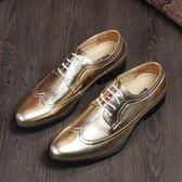 2014 韓男款繫帶金屬色低調黑布洛克皮鞋 10天預購