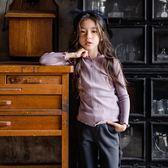 女童長袖內搭衣          打底衫女童公主木耳邊上衣T恤衫韓版中大童純色內搭 伊蘿鞋包精品店