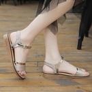 涼鞋 女平底鞋仙女風低跟一字帶平跟厚底夏季鞋子 新款度假 快速出貨
