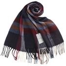 S.T.Dupont羊駝毛混紗時尚格紋圍巾(深藍系)989120-4